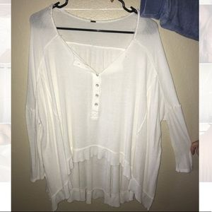 Free People Half Button Mid Sleeve